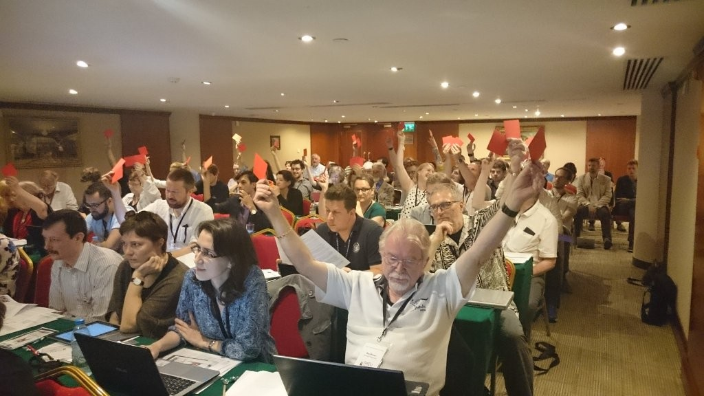 International Delegates at the IHEU General Assembly casting their votes