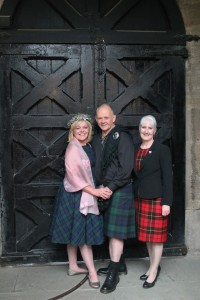 (l-r) Sue and William Wallace stand with Humanist Celebrant Mary Wallace