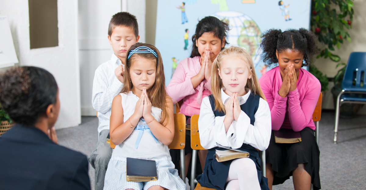 A group of multi-ethnic children at Sunday School in a real church classroom