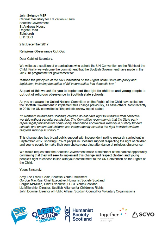 joint call to scottish government to respect youth choice